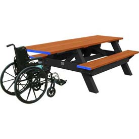 Polly Products Deluxe 8' Picnic Table ADA Compliant, Cedar Top & Bench/Black Frame