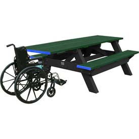 Polly Products Deluxe 8' Picnic Table ADA Compliant, Green Top & Bench/Black Frame