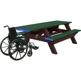 Polly Products Deluxe 8' Picnic Table ADA Compliant, Green Top & Bench/Brown Frame