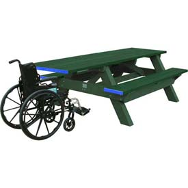 Polly Products Deluxe 8' Picnic Table ADA Compliant, Green Top & Bench/Green Frame