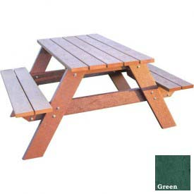 Polly Products Econo-Mizer Space Saver 4' Picnic Table, Green Top/Brown Frame