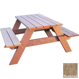 Polly Products Econo-Mizer Space Saver 4' Picnic Table, Weathered Top/Brown Frame