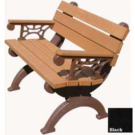 Polly Products Monarque 4 Ft. Backed Bench with Arms, Cedar Bench/Black Frame