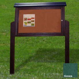 """Polly Products Medium Message Center - 1 Sided/2 Posts, Green, 40""""W x 30""""H"""