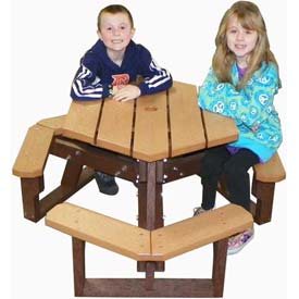 Polly Products Open Hexagon Youth Table, Cedar Top/Brown Frame