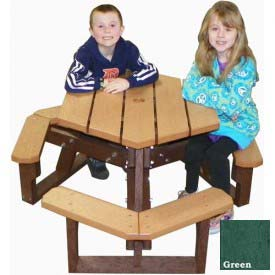 Polly Products Open Hexagon Youth Table, Green Top/Brown Frame