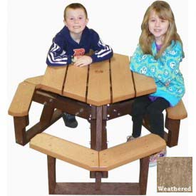 Polly Products Open Hexagon Youth Table, Weathered Top/Brown Frame