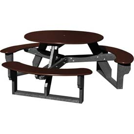 Polly Products Open Round Table, Brown Top/Black Frame
