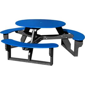 Polly Products Open Round Table, Blue Top/Black Frame