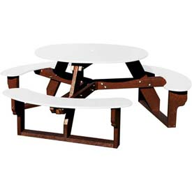 Polly Products Open Round Table, White Top/Brown Frame
