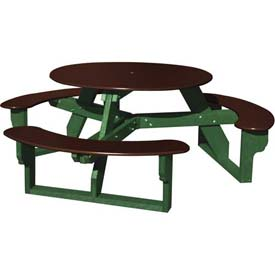 Polly Products Open Round Table, Brown Top/Green Frame