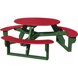 Polly Products Open Round Table, Red Top/Green Frame