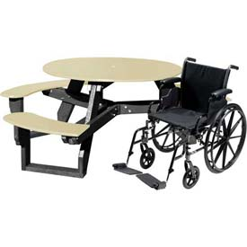 Polly Products Open Round Handicap Access Table, Tan Top/Black Frame