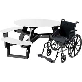 Polly Products Open Round Handicap Access Table, White Top/Black Frame