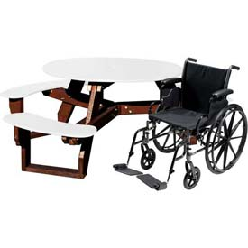 Polly Products Open Round Handicap Access Table, White Top/Brown Frame