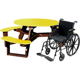 Polly Products Open Round Handicap Access Table, Yellow Top/Brown Frame
