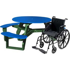 Polly Products Open Round Handicap Access Table, Blue Top/Green Frame