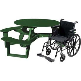 Polly Products Open Round Handicap Access Table, Green Top/Green Frame