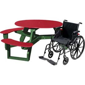 Polly Products Open Round Handicap Access Table, Red Top/Green Frame