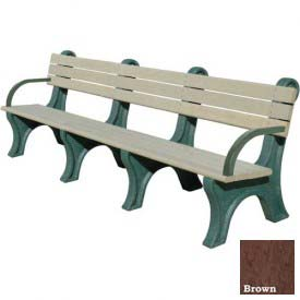 Polly Products Park Classic 8 Ft. Backed Bench with Arms, Brown Bench/Brown Frame by