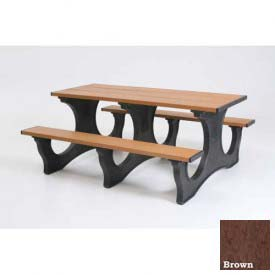 Polly Products Polly Tuff Easy Access 8' Picnic Table, Brown Top/Black Frame