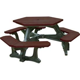 Polly Products Plaza Hex Table, Brown Top/Black Frame