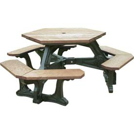 Polly Products Plaza Hex Table, Weathered Top/Black Frame