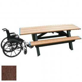 Polly Products Standard 8' Picnic Table ADA Compliant Both Ends, Cedar Top & Bench/Brown Frame