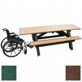 Polly Products Standard 8' Picnic Table ADA Compliant Both Ends, Green Top & Bench/Brown Frame