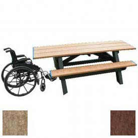 Polly Products Standard 8' Picnic Table ADA Compliant Both Ends, Weathered Top & Bench/Brown Frame