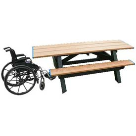 Polly Products Standard 8' Picnic Table ADA Compliant Both Ends, Cedar Top & Bench/Green Frame