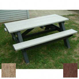 Polly Products Standard 6' Picnic Table, Weathered Top & Bench/Brown Frame