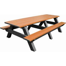 Polly Products Standard 8' Picnic Table, Cedar Top & Bench/Black Frame