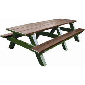 Polly Products Standard 8' Picnic Table, Brown Top & Bench/Green Frame