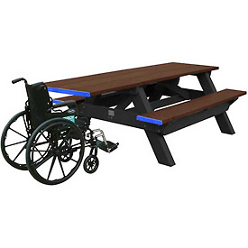 Polly Products Standard 8' Picnic Table ADA Compliant One End, Brown Top & Bench/Black Frame
