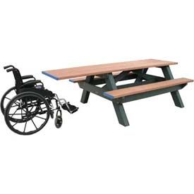 Polly Products Standard 8' Picnic Table ADA Compliant One End, Cedar Top & Bench/Black Frame