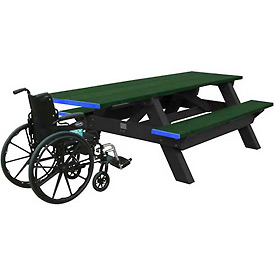 Polly Products Standard 8' Picnic Table ADA Compliant One End, Green Top & Bench/Black Frame