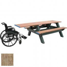 Polly Products Standard 8' Picnic Table ADA Compliant One End, Weathered Top & Bench/Black Frame