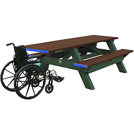 Polly Products Standard 8' Picnic Table ADA Compliant One End, Brown Top & Bench/Green Frame