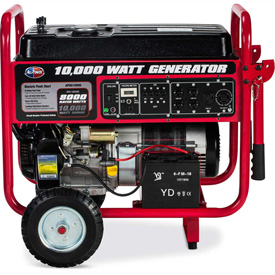 All Power APGG10000 10000W Portable Generator Electric Start w/ Wheel Kit & Battery Included