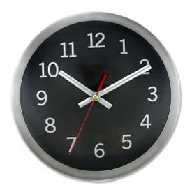 "Artistic® 9"" Round Quartz Wall Clock, Metal Brushed Case, Silver/Black"