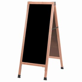 "Aarco Solid Oak A-Frame Sidewalk Black Marker Board 18""W x 42""H by"