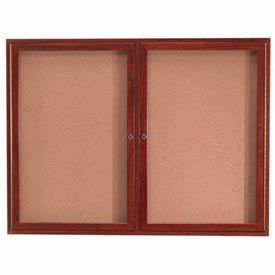 "Aarco 2 Door Cherry Enclosed Bulletin Board - 48""W x 36""H"