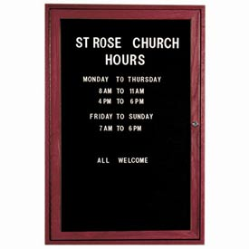 "Aarco 1 Door Cherry Enclosed Changeable Letter Board 24""W x 36""H by"