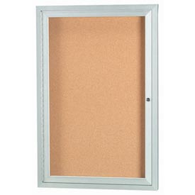 "Aarco 1 Door Framed Illuminated Enclosed Bulletin Board - 18""W x 24""H"