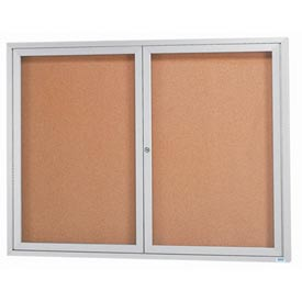 "Aarco 2 Door Framed Enclosed Bulletin Board - 60""W x 48""H"