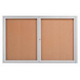 "Aarco 2 Door Framed Enclosed Bulletin Board - 72""W x 48""H"