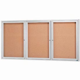 "Aarco 3 Door Framed Enclosed Bulletin Board - 96""W x 48""H"