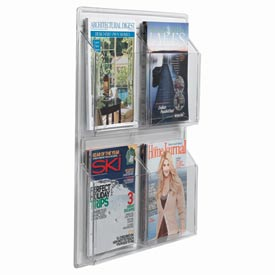 "Clear-Vu Magazine And Literature Display-4 Magazine Pockets - 21""W x 25""H"