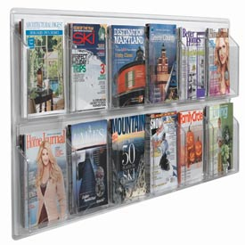"Clear-Vu Magazine And Literature Display-12 Magazine Pockets - 60""W x 25""H"